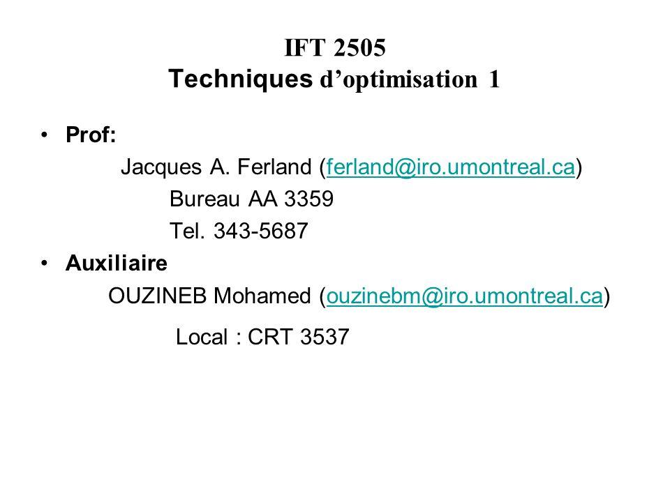 IFT 2505 Techniques doptimisation 1 Prof: Jacques A. Ferland (ferland@iro.umontreal.ca)ferland@iro.umontreal.ca Bureau AA 3359 Tel. 343-5687 Auxiliair
