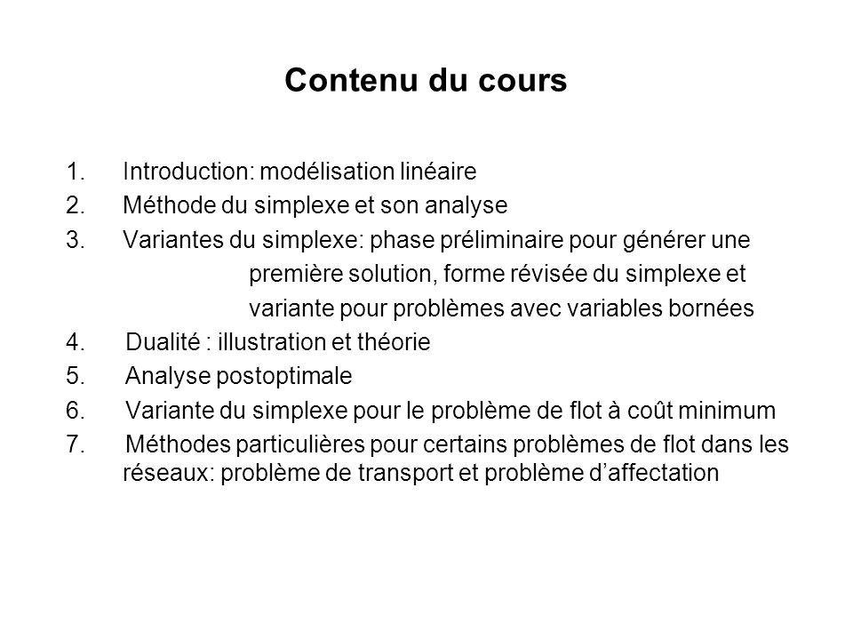 Contenu du cours 1.Introduction: modélisation linéaire 2.Méthode du simplexe et son analyse 3.Variantes du simplexe: phase préliminaire pour générer u