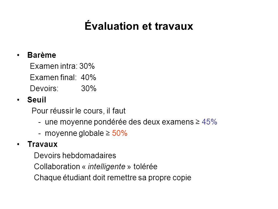 Évaluation et travaux Barème Examen intra: 30% Examen final: 40% Devoirs: 30% Seuil Pour réussir le cours, il faut - une moyenne pondérée des deux exa
