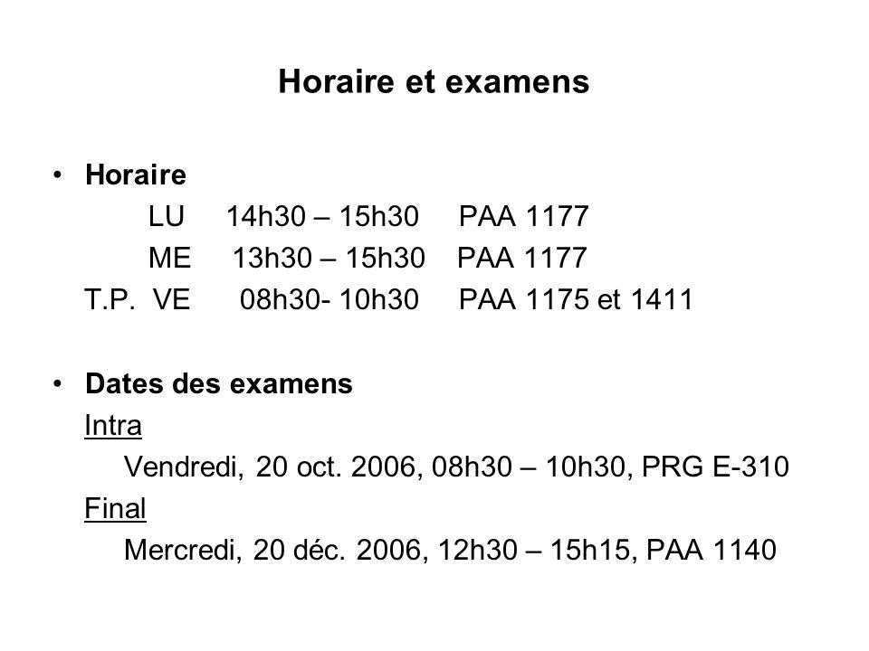 Horaire et examens Horaire LU 14h30 – 15h30 PAA 1177 ME 13h30 – 15h30 PAA 1177 T.P. VE 08h30- 10h30 PAA 1175 et 1411 Dates des examens Intra Vendredi,