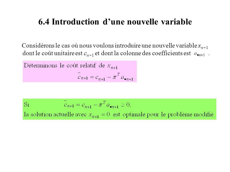 6.4 Introduction dune nouvelle variable Considérons le cas où nous voulons introduire une nouvelle variable x n+1 dont le coût unitaire est c n+1 et d