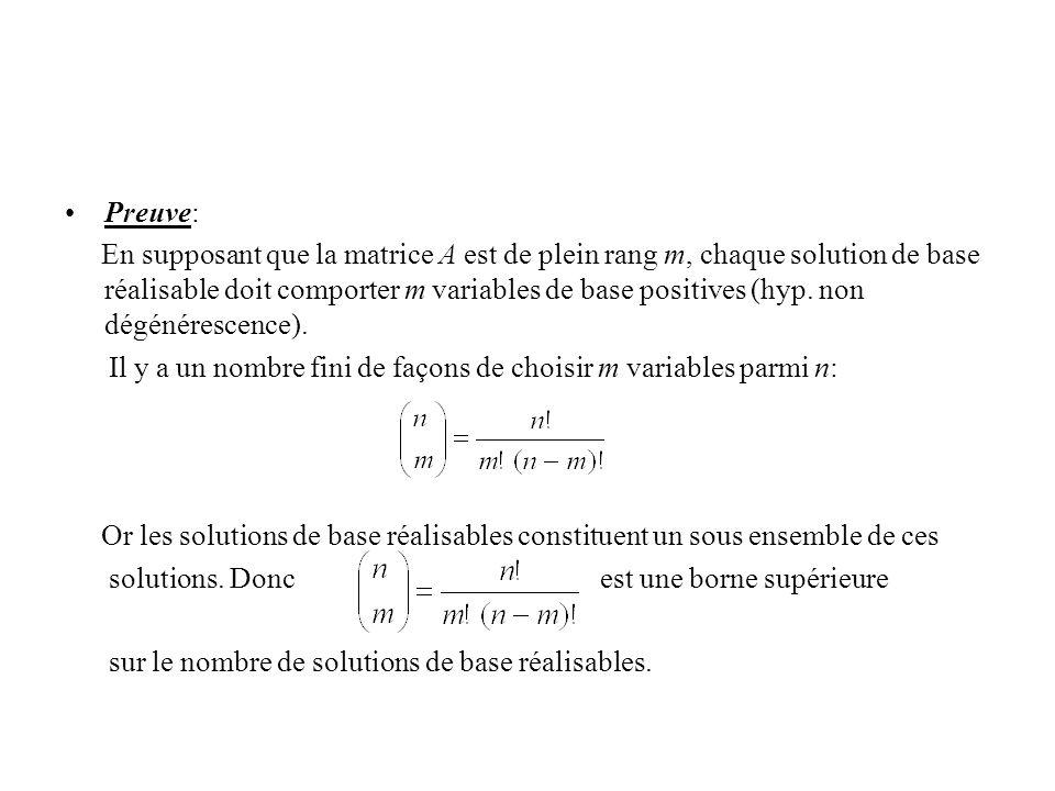 Preuve: En supposant que la matrice A est de plein rang m, chaque solution de base réalisable doit comporter m variables de base positives (hyp. non d