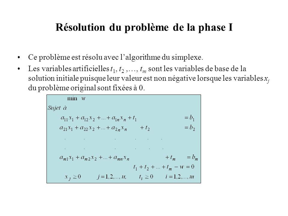 Résolution du problème de la phase I Ce problème est résolu avec lalgorithme du simplexe. Les variables artificielles t 1, t 2,…, t m sont les variabl