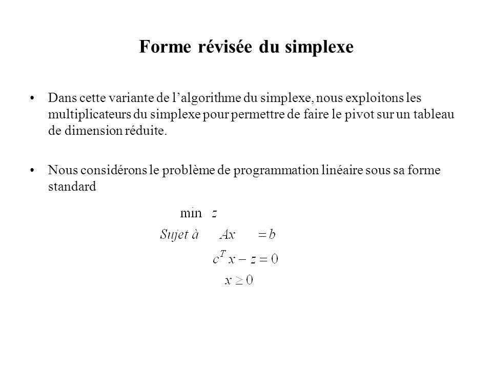 Forme révisée du simplexe Dans cette variante de lalgorithme du simplexe, nous exploitons les multiplicateurs du simplexe pour permettre de faire le p