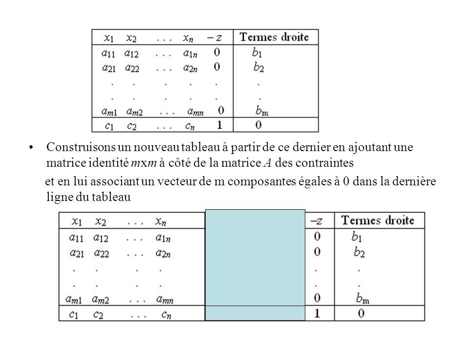 Construisons un nouveau tableau à partir de ce dernier en ajoutant une matrice identité mxm à côté de la matrice A des contraintes et en lui associant