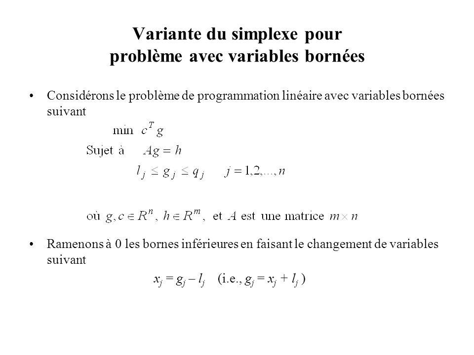 Variante du simplexe pour problème avec variables bornées Considérons le problème de programmation linéaire avec variables bornées suivant Ramenons à