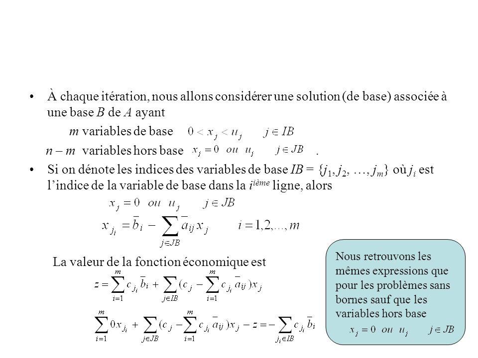 À chaque itération, nous allons considérer une solution (de base) associée à une base B de A ayant m variables de base n – m variables hors base. Si o