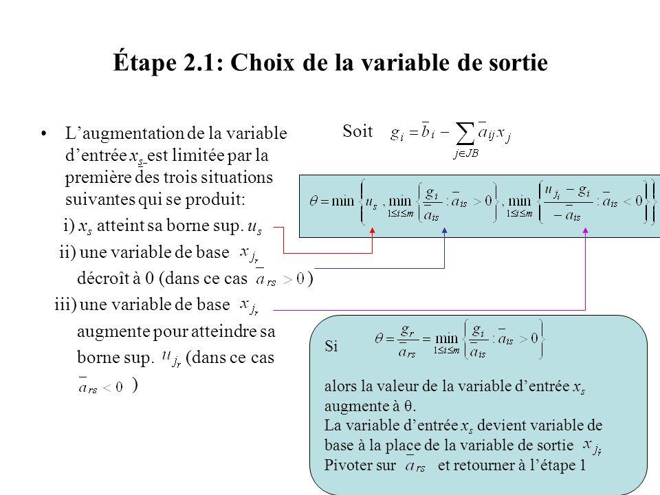 Étape 2.1: Choix de la variable de sortie Laugmentation de la variable dentrée x s est limitée par la première des trois situations suivantes qui se p