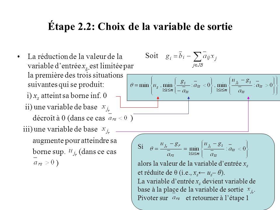 Étape 2.2: Choix de la variable de sortie La réduction de la valeur de la variable dentrée x s est limitée par la première des trois situations suivan