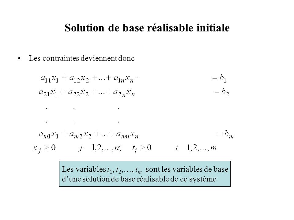 Résultat de la phase I Preuve (i) (Preuve par contraposée) Si le domaine réalisable du problème original nest pas vide, substituons ces valeurs des variables x j dans le problème de la phase I pour obtenir une solution réalisable où toutes les variables t i sont égales à 0 et ainsi ayant une valeur de la fonction économique w = 0.