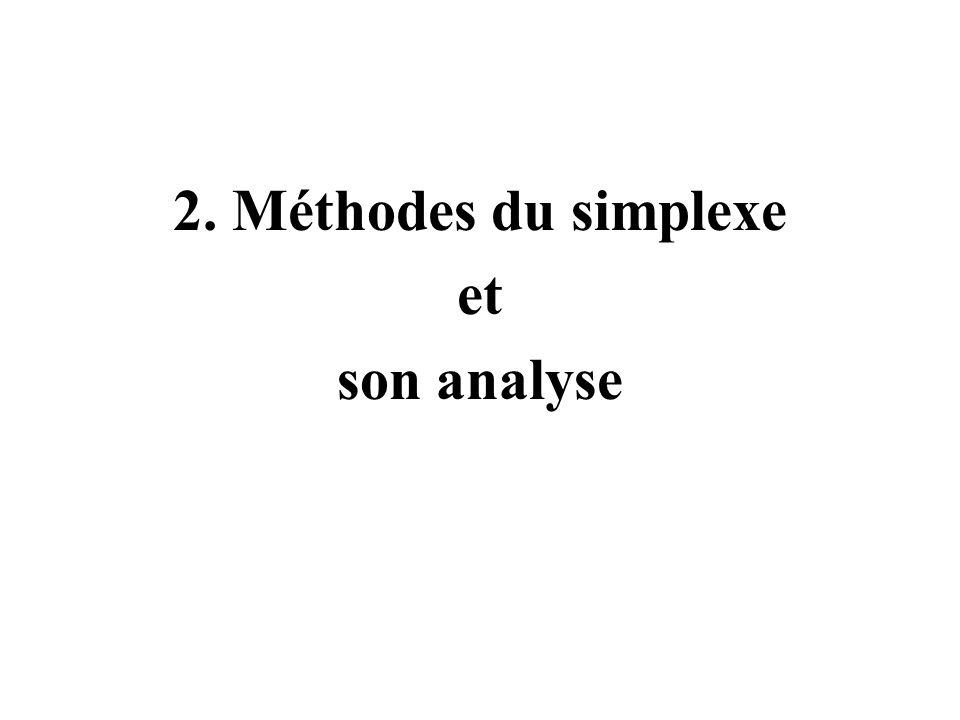 2. Méthodes du simplexe et son analyse
