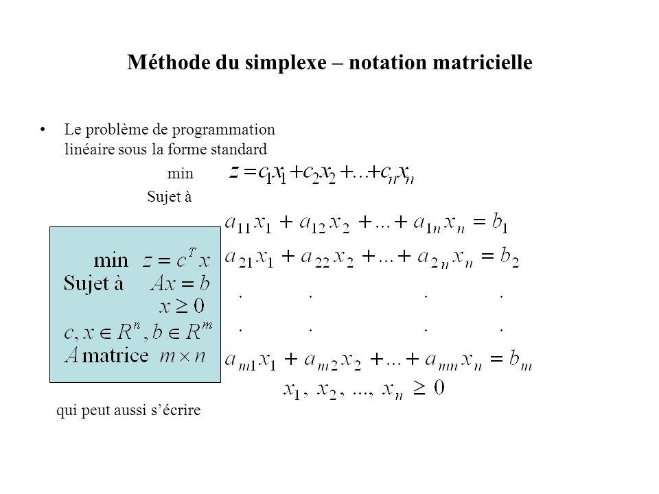 Le problème de programmation linéaire sous la forme standard min Sujet à qui peut aussi sécrire
