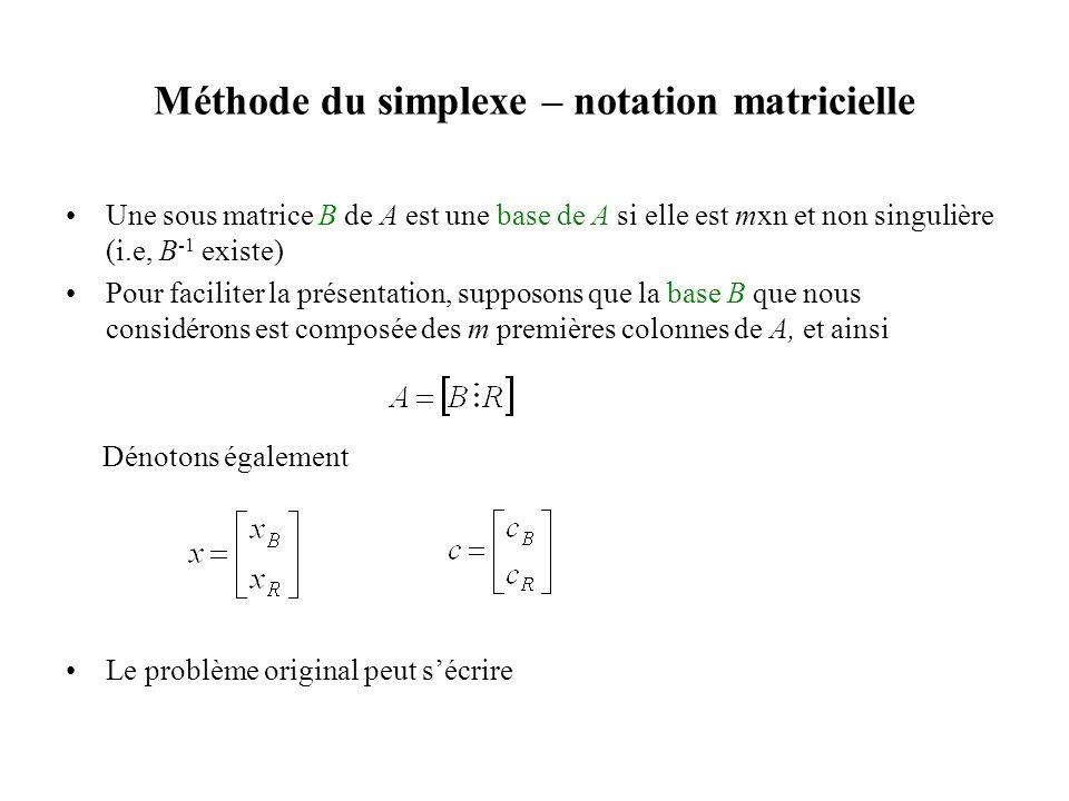 Méthode du simplexe – notation matricielle Une sous matrice B de A est une base de A si elle est mxn et non singulière (i.e, B -1 existe) Pour facilit