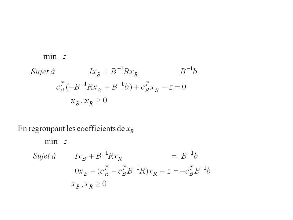 En regroupant les coefficients de x R
