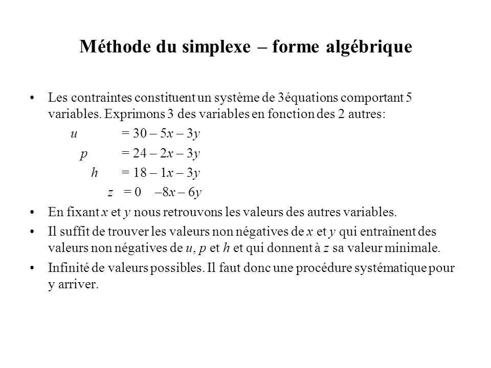 Méthode du simplexe – forme algébrique Les contraintes constituent un système de 3équations comportant 5 variables. Exprimons 3 des variables en fonct