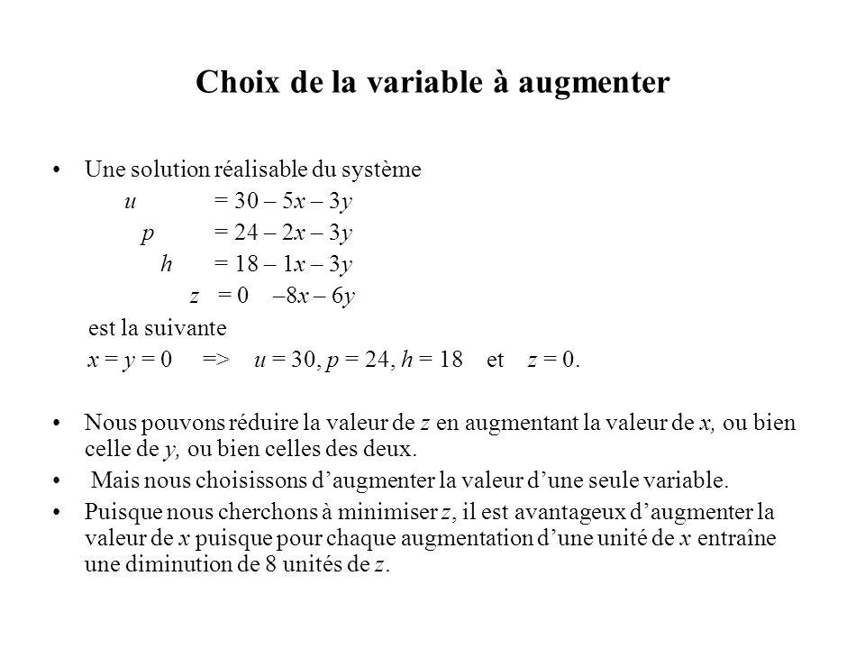 Choix de la variable à augmenter Une solution réalisable du système u = 30 – 5x – 3y p = 24 – 2x – 3y h = 18 – 1x – 3y z = 0 –8x – 6y est la suivante