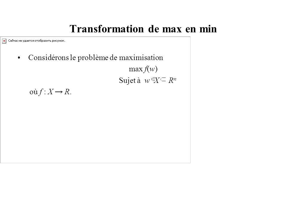 Considérons le problème de maximisation max f(w) Sujet à w X R n où f : X R.