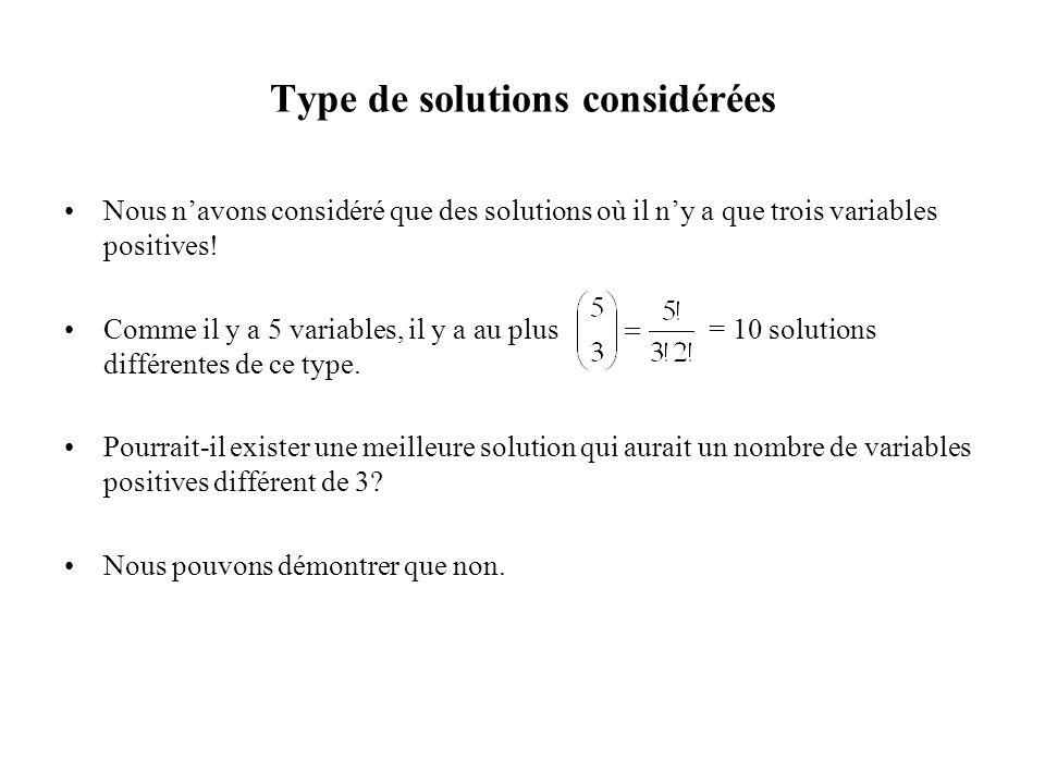 Type de solutions considérées Nous navons considéré que des solutions où il ny a que trois variables positives! Comme il y a 5 variables, il y a au pl