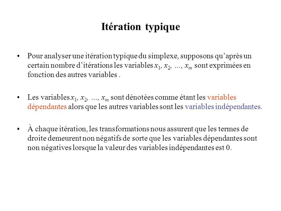 Itération typique Pour analyser une itération typique du simplexe, supposons quaprès un certain nombre ditérations les variables x 1, x 2, …, x m sont