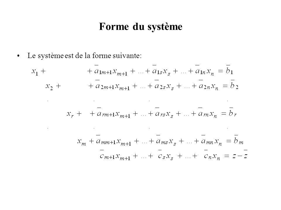 Forme du système Le système est de la forme suivante: