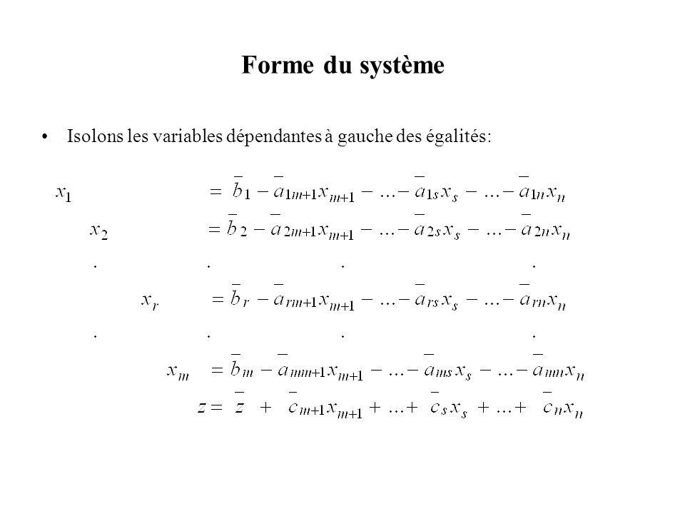 Forme du système Isolons les variables dépendantes à gauche des égalités: