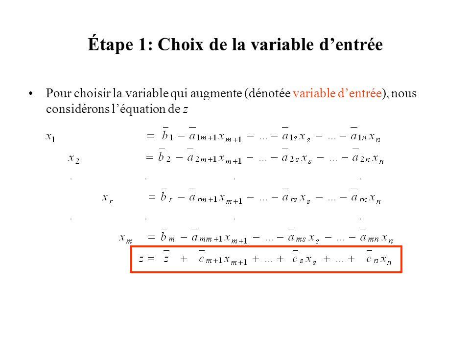 Étape 1: Choix de la variable dentrée Pour choisir la variable qui augmente (dénotée variable dentrée), nous considérons léquation de z
