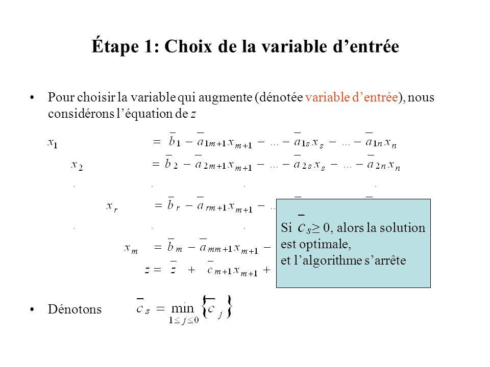 Étape 1: Choix de la variable dentrée Pour choisir la variable qui augmente (dénotée variable dentrée), nous considérons léquation de z Dénotons Si 0,