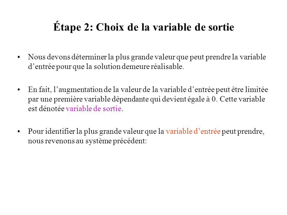 Étape 2: Choix de la variable de sortie Nous devons déterminer la plus grande valeur que peut prendre la variable dentrée pour que la solution demeure