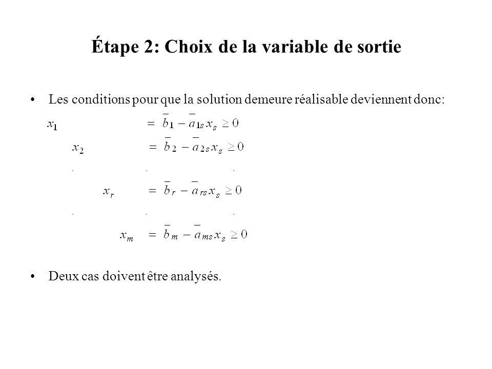 Étape 2: Choix de la variable de sortie Les conditions pour que la solution demeure réalisable deviennent donc: Deux cas doivent être analysés.