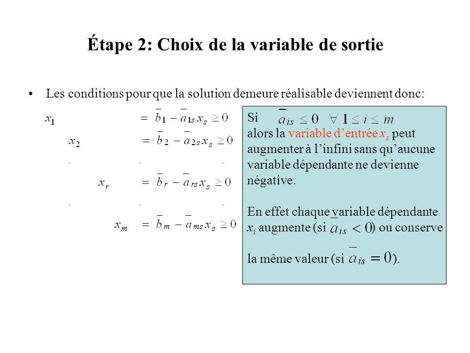 Étape 2: Choix de la variable de sortie Les conditions pour que la solution demeure réalisable deviennent donc: Si alors la variable dentrée x s peut