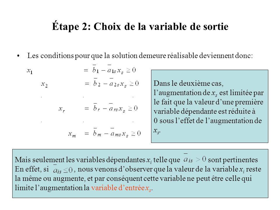Étape 2: Choix de la variable de sortie Les conditions pour que la solution demeure réalisable deviennent donc: Dans le deuxième cas, laugmentation de
