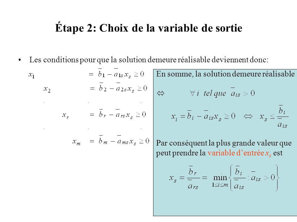 Étape 2: Choix de la variable de sortie Les conditions pour que la solution demeure réalisable deviennent donc: En somme, la solution demeure réalisab