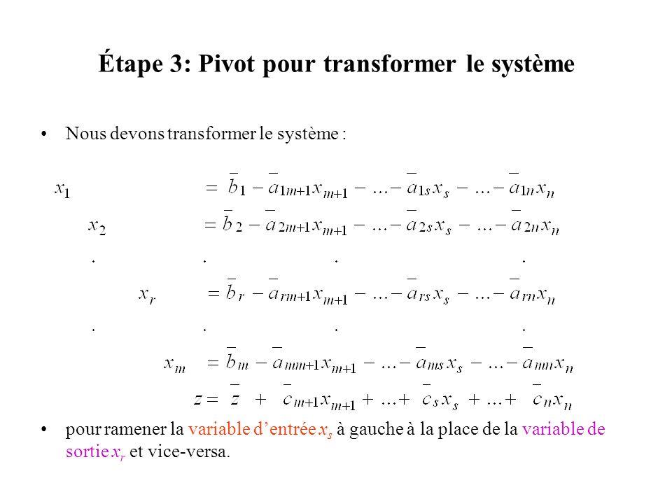 Nous devons transformer le système : pour ramener la variable dentrée x s à gauche à la place de la variable de sortie x r et vice-versa.