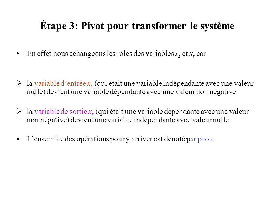 Étape 3: Pivot pour transformer le système En effet nous échangeons les rôles des variables x s et x r car la variable dentrée x s (qui était une vari