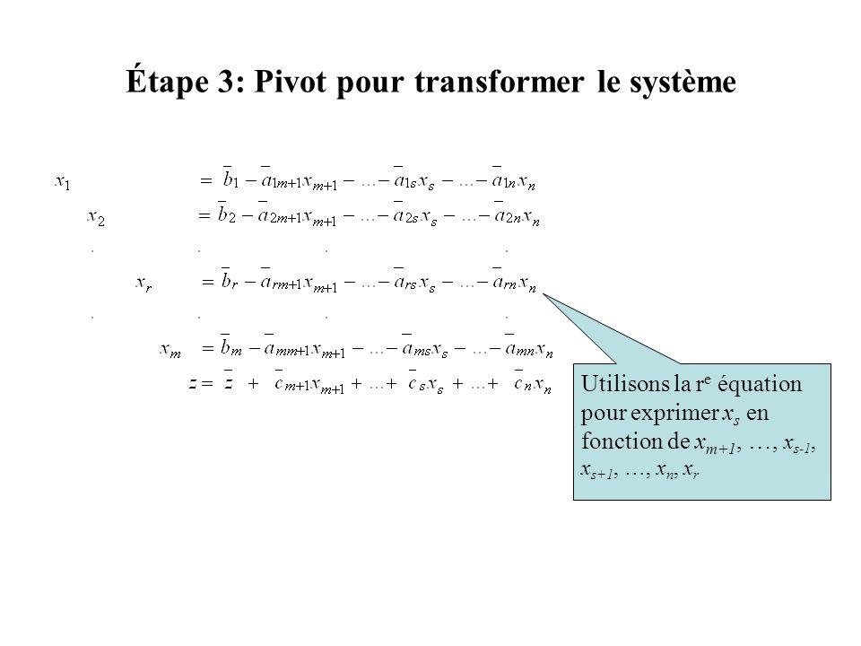 Étape 3: Pivot pour transformer le système Utilisons la r e équation pour exprimer x s en fonction de x m+1, …, x s-1, x s+1, …, x n, x r