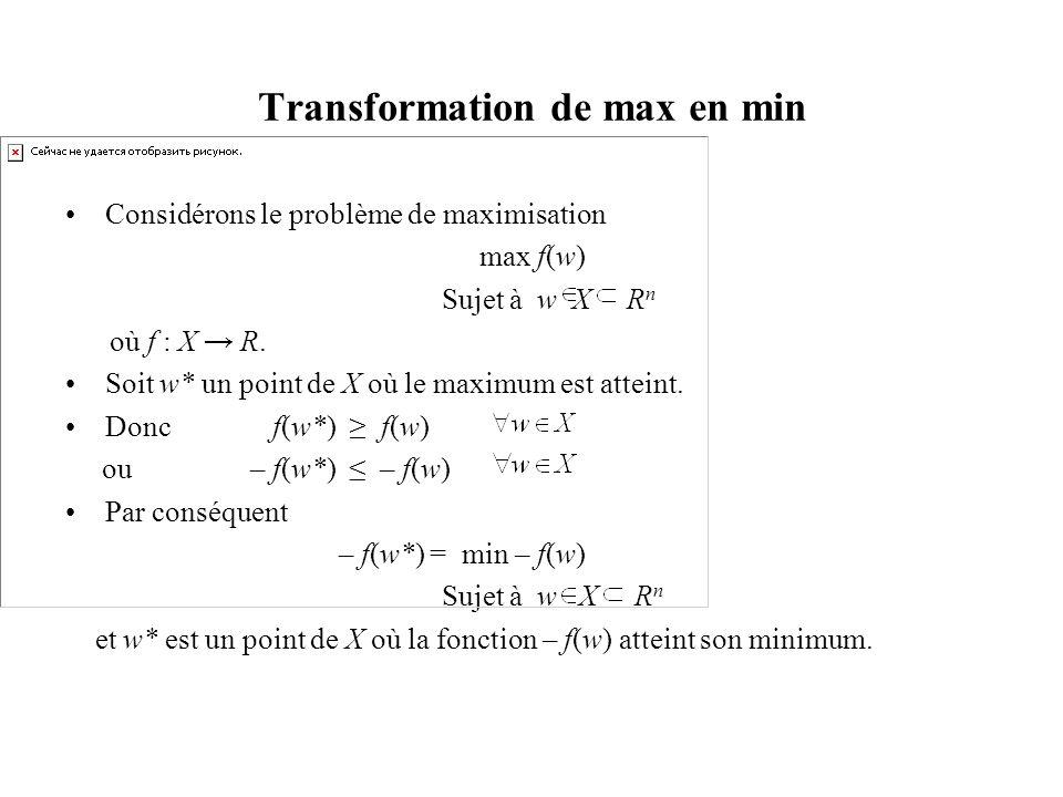 Transformation de max en min Considérons le problème de maximisation max f(w) Sujet à w X R n où f : X R. Soit w* un point de X où le maximum est atte