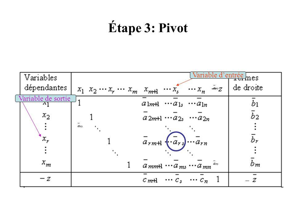 Étape 3: Pivot Variable dentrée Variable de sortie –