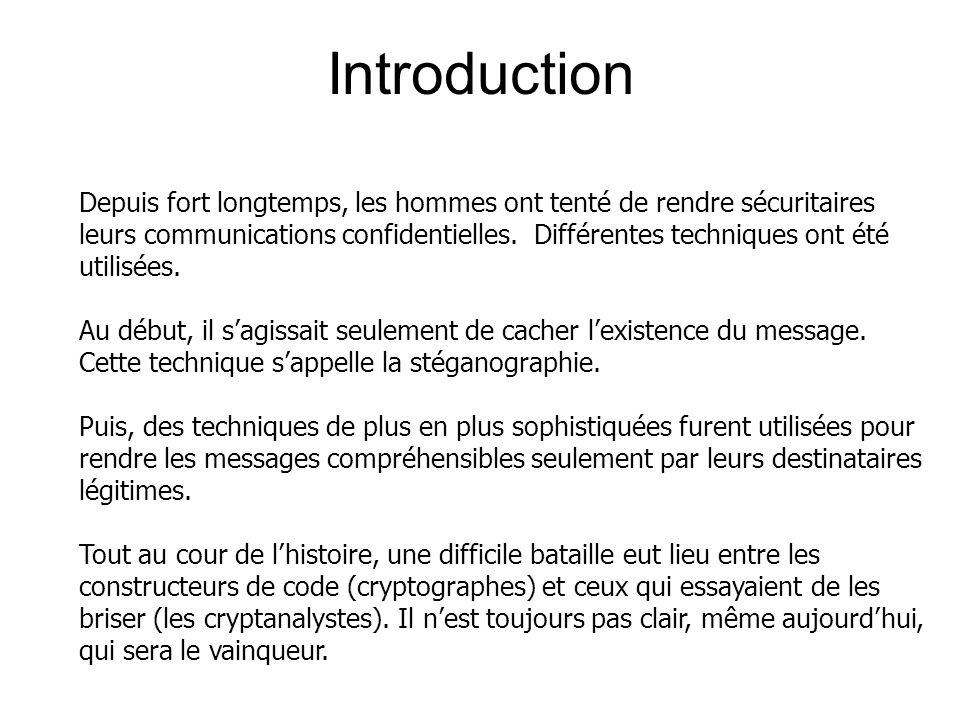 Introduction Depuis fort longtemps, les hommes ont tenté de rendre sécuritaires leurs communications confidentielles.