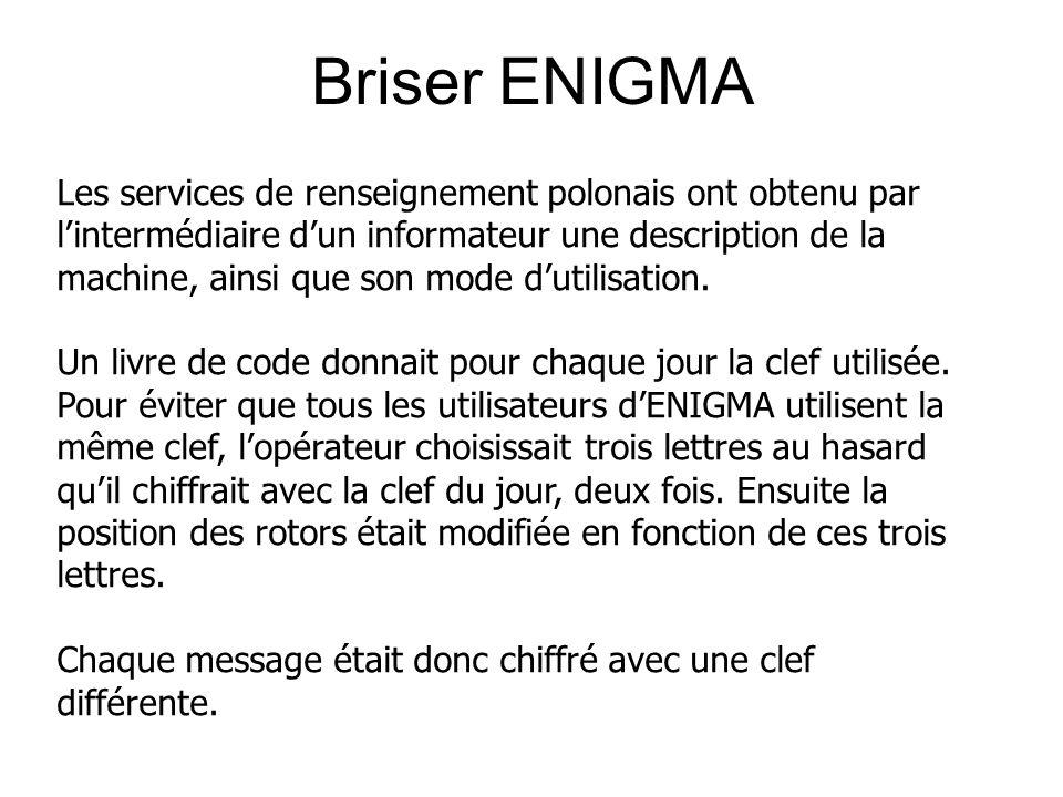 Briser ENIGMA Les services de renseignement polonais ont obtenu par lintermédiaire dun informateur une description de la machine, ainsi que son mode dutilisation.