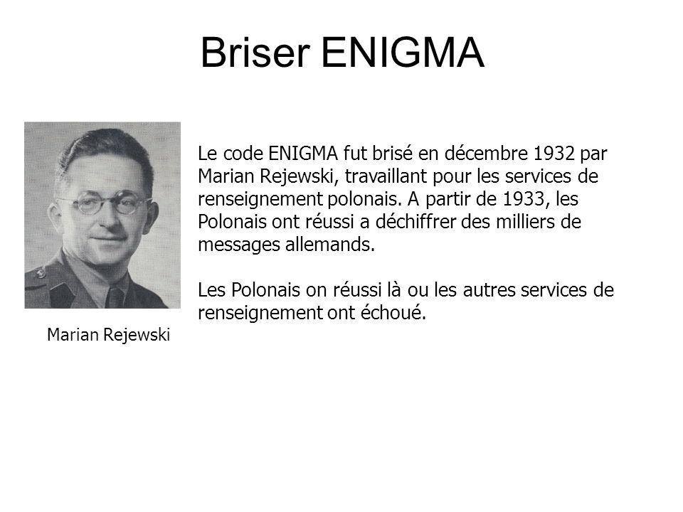 Briser ENIGMA Le code ENIGMA fut brisé en décembre 1932 par Marian Rejewski, travaillant pour les services de renseignement polonais.