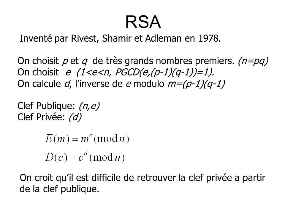 RSA On choisit p et q de très grands nombres premiers. (n=pq) On choisit e (1<e<n, PGCD(e,(p-1)(q-1))=1). On calcule d, linverse de e modulo m=(p-1)(q