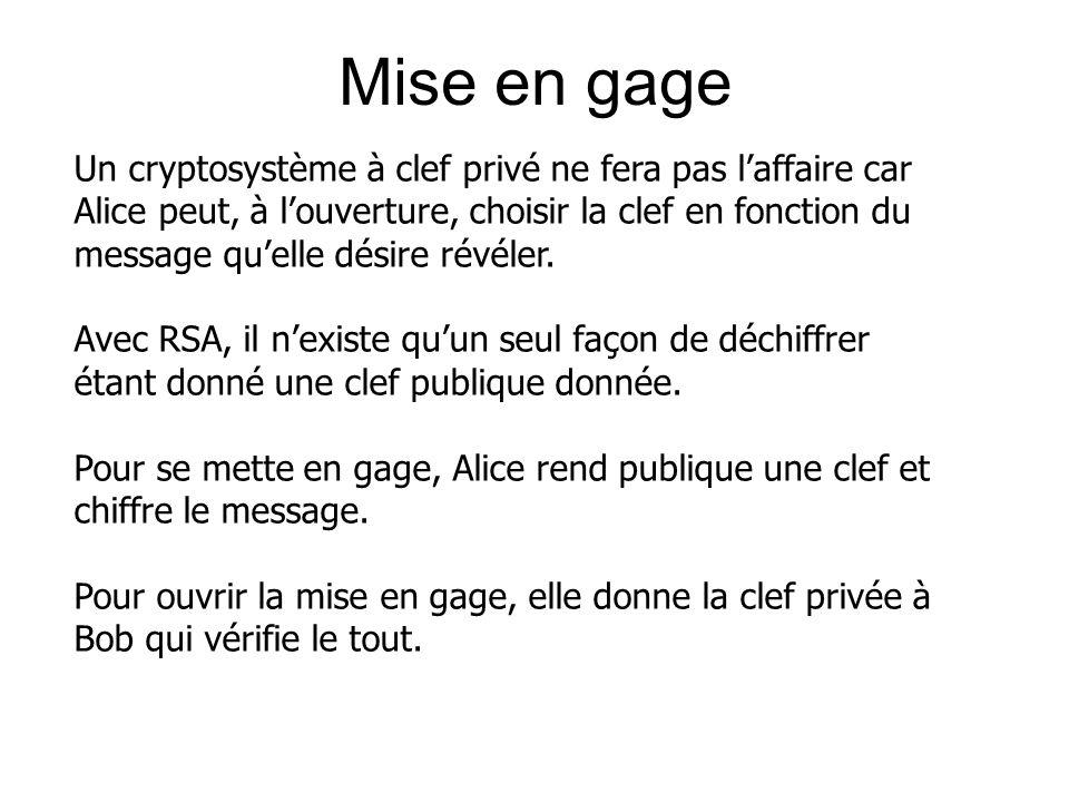 Mise en gage Un cryptosystème à clef privé ne fera pas laffaire car Alice peut, à louverture, choisir la clef en fonction du message quelle désire révéler.