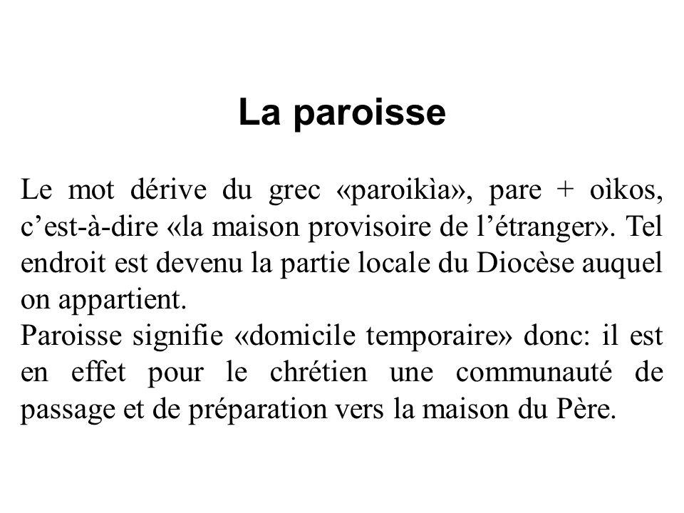 La paroisse Le mot dérive du grec «paroikìa», pare + oìkos, cest-à-dire «la maison provisoire de létranger». Tel endroit est devenu la partie locale d