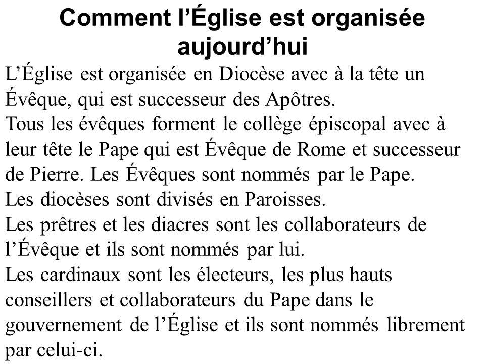 Comment lÉglise est organisée aujourdhui LÉglise est organisée en Diocèse avec à la tête un Évêque, qui est successeur des Apôtres. Tous les évêques f
