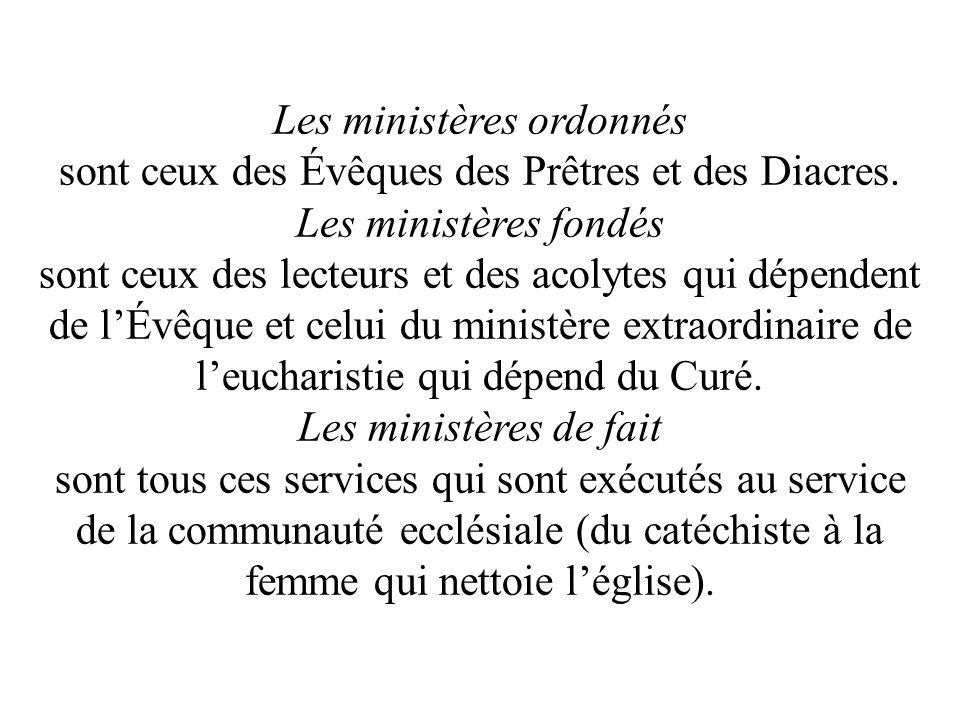 Les ministères ordonnés sont ceux des Évêques des Prêtres et des Diacres. Les ministères fondés sont ceux des lecteurs et des acolytes qui dépendent d