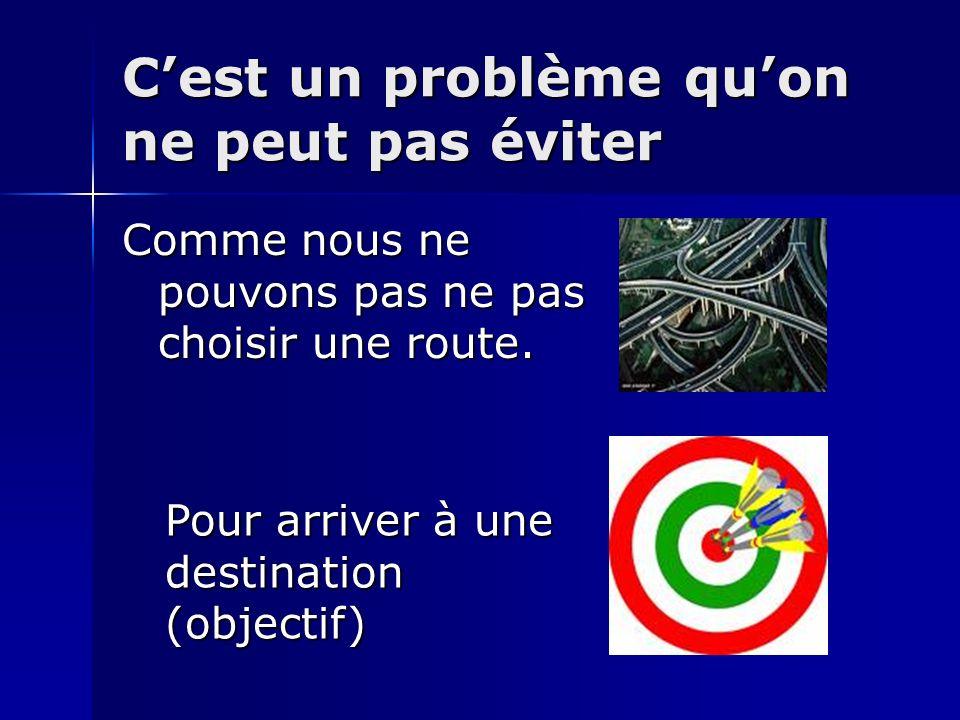 Cest un problème quon ne peut pas éviter Comme nous ne pouvons pas ne pas choisir une route. Pour arriver à une destination (objectif)