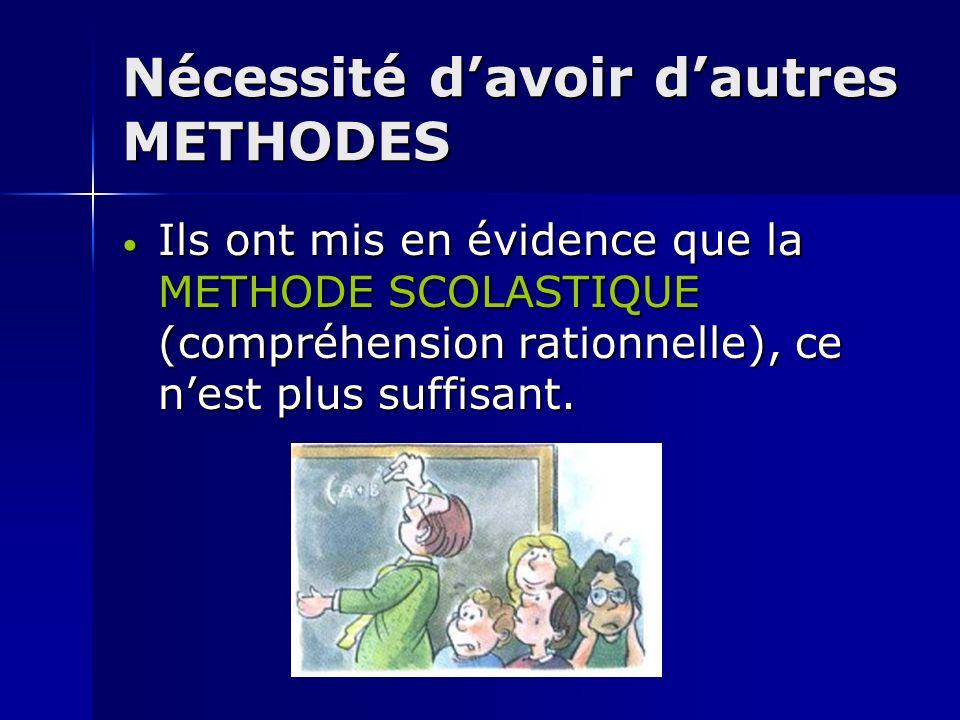 Nécessité davoir dautres METHODES Ils ont mis en évidence que la METHODE SCOLASTIQUE (compréhension rationnelle), ce nest plus suffisant. Ils ont mis