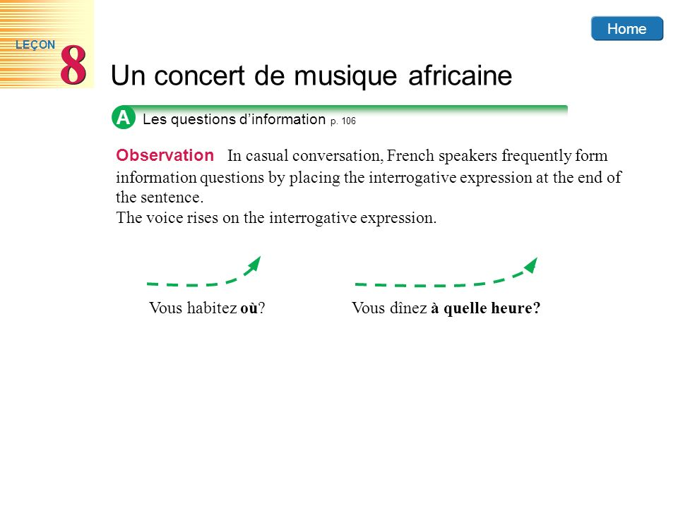Home Un concert de musique africaine 8 8 LEÇON A Observation In casual conversation, French speakers frequently form information questions by placing