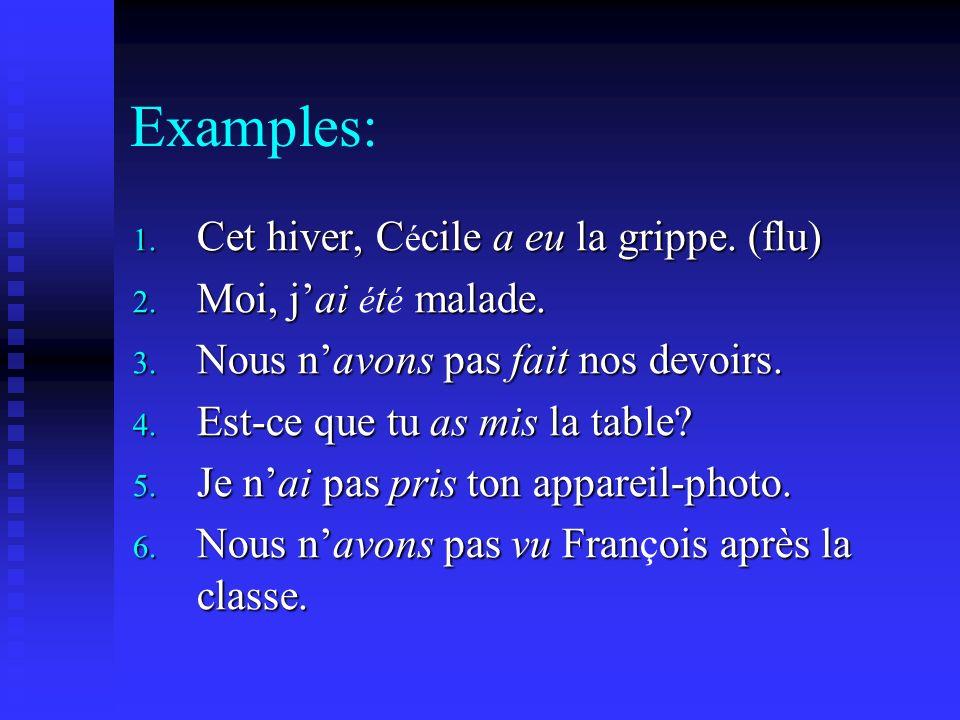 Examples: 1. Cet hiver, Ccile a eu la grippe. (flu) 1.