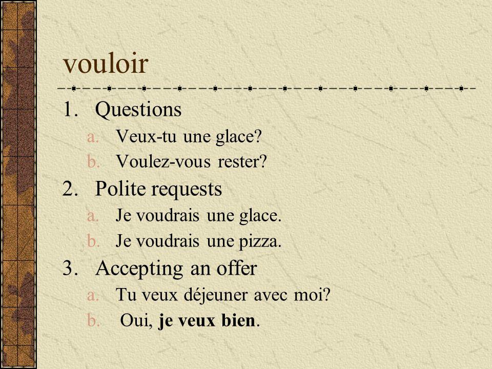vouloir 1.Questions a.Veux-tu une glace? b.Voulez-vous rester? 2.Polite requests a.Je voudrais une glace. b.Je voudrais une pizza. 3.Accepting an offe